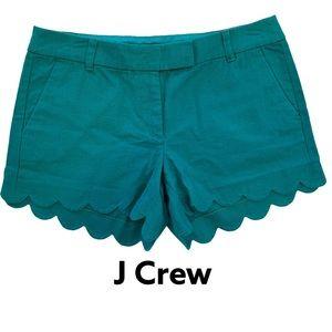 J Crew Scalloped-Hem Linen-Blend Green Shorts 10
